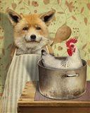 Fox And Chicken Art Print