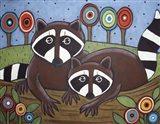 2 Raccoons Art Print