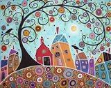 Houses Barn Birds & Swirl Tree Art Print