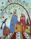 Swirl Tree Bird & Houses Art Print