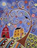 Swirl Tree House & Barn Art Print