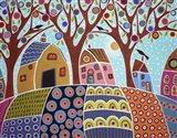 Trees Houses Barn & Birds Art Print