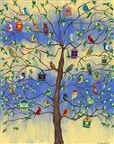 Bird and Bird Houses on Tree Art Print