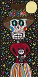 Day of the Dead Girl with Cat Art Print