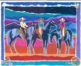 Three Cowgirls Art Print