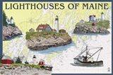 Lighthouses Of Maine Art Print