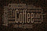 Coffee Beans Text Art Print
