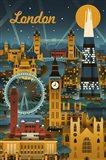 London Evening Ferris Wheel Art Print