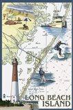 Long Beach Island Map Art Print