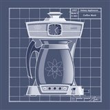 Galaxy Coffeemaid - Blueprint Art Print
