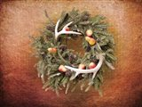Christmas Wreath with Deer Antlers Art Print
