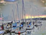 Dusk At White Rock Art Print