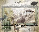 Vintage State Montana Art Print