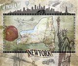 Vintage State NewYork Art Print