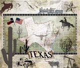 Vintage State Texas Art Print