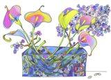 Calla Lilly And Hydrangea Hallucination Art Print