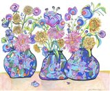 Three Cobalts With Wildflowers Art Print
