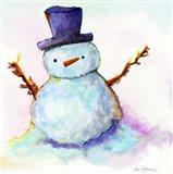 Snowman In Sunset Art Print