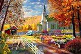 Vermont Church Fall Fair Art Print