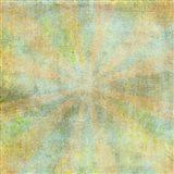 Teal Sunburst Grunge Art Print