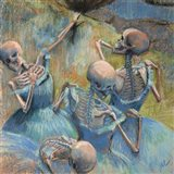 Blue Skelly Dancers Art Print