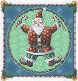Santa & Snowflakes Art Print