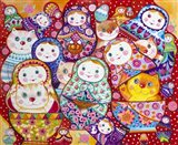 Cats And Nesting Dolls Art Print