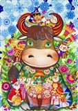 Winter Cow Art Print