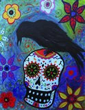 Black Bird And Skull Art Print