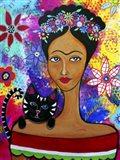 Frida And Her Cat Art Print