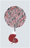 Cherry Tree Fox Art Print