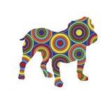 Bulldog Abstract Circles Art Print