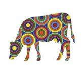 Cow Abstract Circles Art Print
