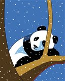 Giant Panda Sleeping In Treee Art Print