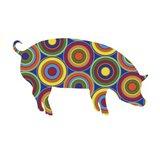 Pig Abstract Circles Art Print