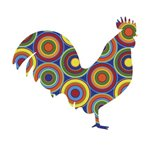 Rooster Abstract Circles Art Print