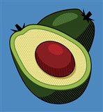 Avocado On Blue Art Print