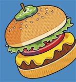 Cheeseburger On Blue Art Print