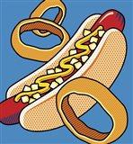 Hot Dog Onion Rings On Blue Art Print