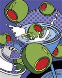 Martini Flying Olives Art Print