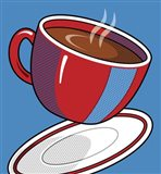 Red Coffee Cup On Blue Art Print