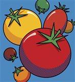 Various Tomatoes On Blue Art Print