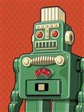 Vintage Green Robot Art Print