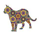Cat Standing Abstract Circles Art Print