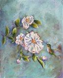 Hummingbird with Camellias Art Print