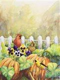 Cardinals in Pumpkin Patch Art Print