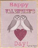 Valentine's Day Owls Art Print