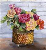 Roses in Copper Pot Art Print