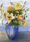 Yellow Roses in Blue Vase Art Print