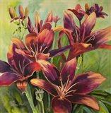 Red Purple Lilies Art Print
